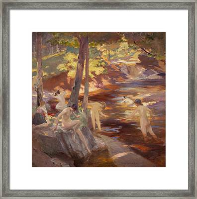 The Bathing Pool Framed Print by Charles Hodge Mackie