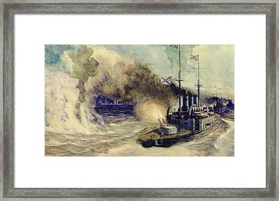 The Battle Between The Black Sea Fleet And The Armoured Cruiser Goeben Framed Print by Mikhail Mikhailovich Semyonov