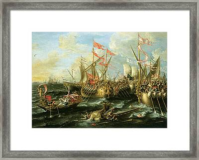 The Battle Of Actium 2 September 31 Bc Framed Print by Lorenzo Castro