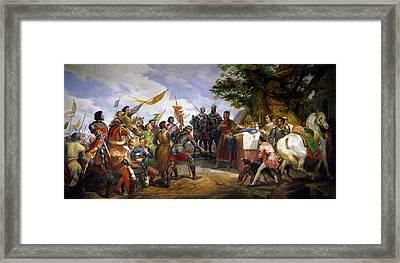 The Battle Of Bouvines Framed Print by Emile Jean Horace Vernet