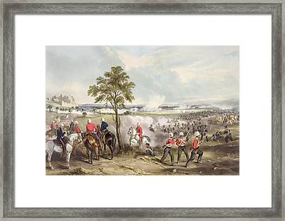 The Battle Of Goojerat On 21st February Framed Print by Henry Martens