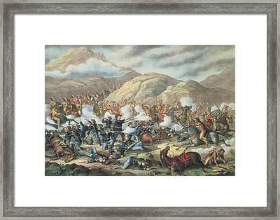 The Battle Of Little Big Horn, June 25th 1876 Framed Print by American School
