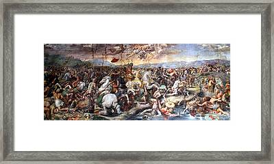 The Battle Of Milvian Bridge Framed Print by Giulio Romano