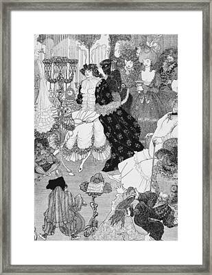 The Battle Of The Beaux And The Belles Framed Print by Aubrey Beardsley