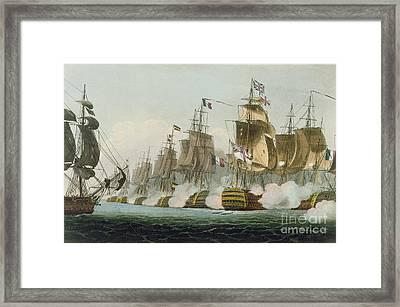 The Battle Of Trafalgar Framed Print by Thomas Whitcombe