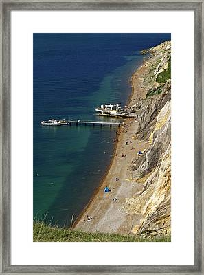 The Beach And Sand Cliffs Of Alum Bay Framed Print by Rod Johnson