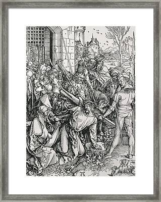 The Bearing Of The Cross From The 'great Passion' Series Framed Print by Albrecht Duerer