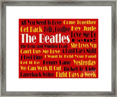 The Beatles 20 Classic Rock Songs 2 Framed Print by Andee Design