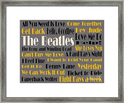 The Beatles 20 Classic Rock Songs 4 Framed Print by Andee Design