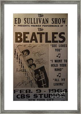 The Beatles Ed Sullivan Show Poster Framed Print by Mitch Shindelbower