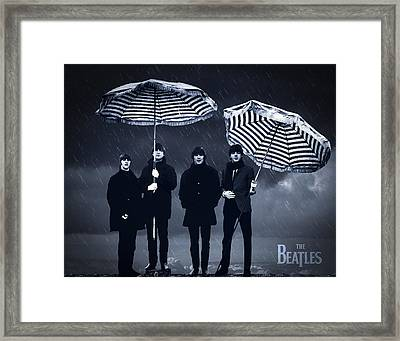 The Beatles In The Rain Framed Print by Aged Pixel