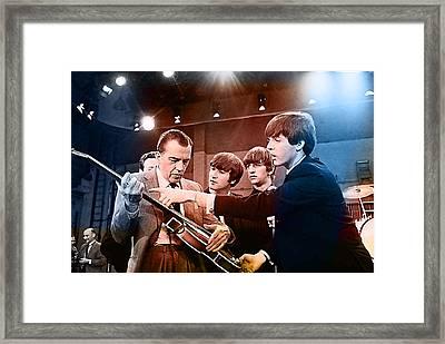 The Beatles On The Ed Sullivan Show Framed Print by Marvin Blaine