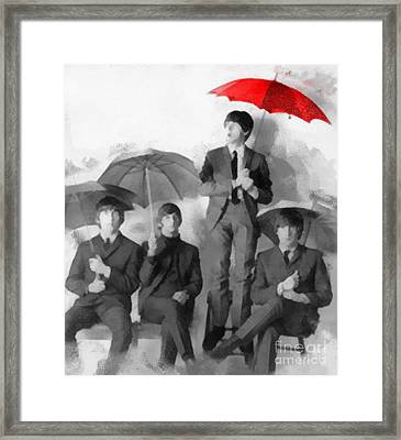 The Beatles - Paul's Red Umbrella Framed Print by Paulette B Wright