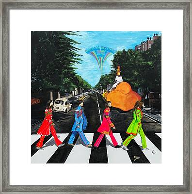 The Beatles Sgt Peppers Walk On Abby Road Framed Print by Edward Pebworth