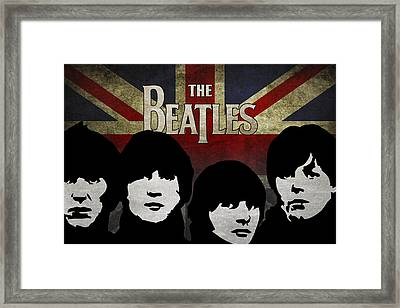 The Beatles Silhouettes Framed Print by Aged Pixel