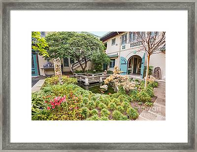 The Beautiful Courtyard Of The Pacific Asia Museum In Pasadena. Framed Print by Jamie Pham
