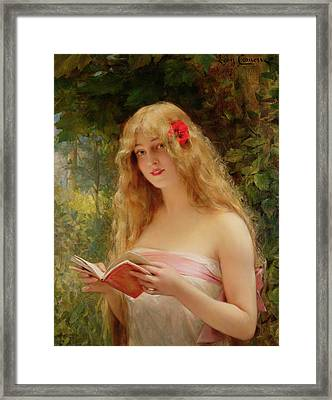 The Beautiful Reader Framed Print by Leon Francois Comerre