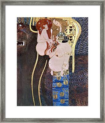 The Beethoven Frieze Framed Print by Gustive Klimt