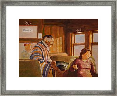 The Beggar And The Train Framed Print by Robert Jones
