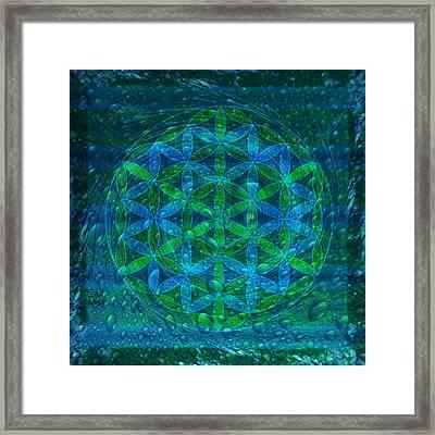 The Begining - Water Flower Of Life Mandala Framed Print by Iwona Sicinska