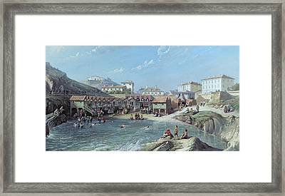 The Beginning Of Sea Swimming In The Old Port Of Biarritz  Framed Print by Jean Jacques Alban de Lesgallery