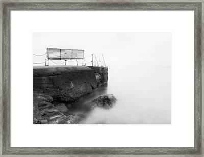 The Bench And The Fog Framed Print by Erik Brede