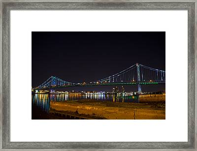 The Benjamin Franklin Bridge From Camden Framed Print by Bill Cannon