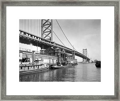 The Benjamin Franklin Bridge Framed Print by Underwood Archives