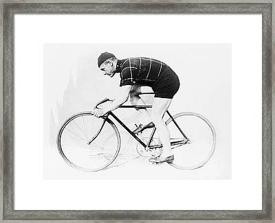 The Bicyclist - 1914 Framed Print by Daniel Hagerman