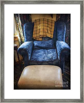 The Big Blue Chair - Oil Framed Print by Edward Fielding