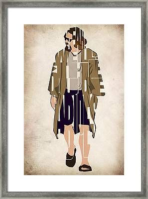 The Big Lebowski Inspired The Dude Typography Artwork Framed Print by Ayse Deniz