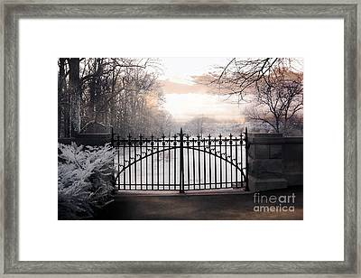 The Biltmore House Gates - Biltmore Estate Mansion Gate Nature Landscape Framed Print by Kathy Fornal