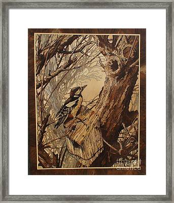 The Bird And Tree Marquetry Wood Work Framed Print by Persian Art