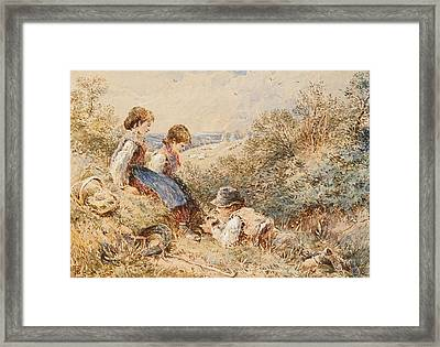 The Bird's Nest Framed Print by Myles Birket Foster