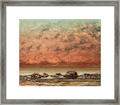 The Black Rocks At Trouville Framed Print by Gustave Cobert