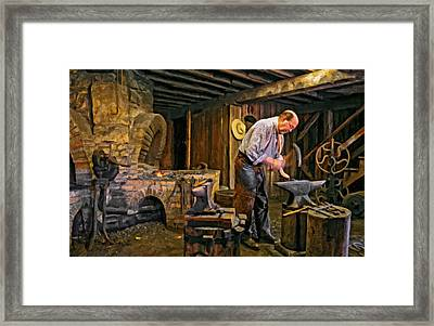 The Blacksmith Oil Framed Print by Steve Harrington
