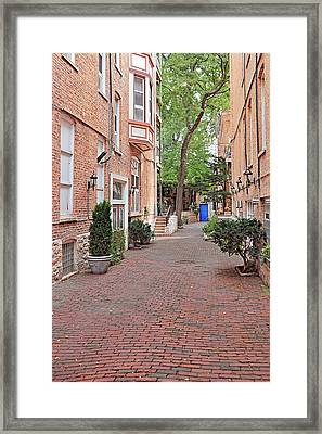 The Blue Door - Gaslight Court Chicago Old Town Framed Print by Christine Till