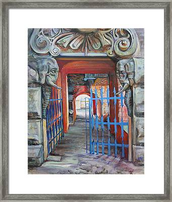 The Blue Gate Framed Print by Marina Gnetetsky