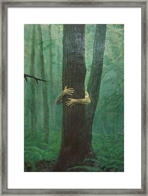 The Blue-green Forest Detail Framed Print by Derek Van Derven