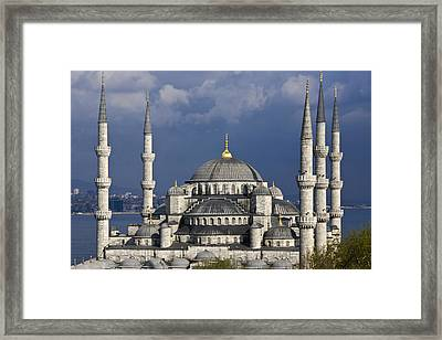 The Blue Mosque In Istanbul Framed Print by Michele Burgess