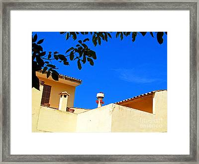The Blue Sky And Adobe Roof Framed Print by Tina M Wenger