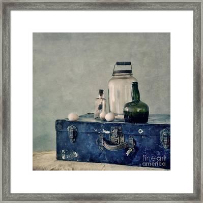 The Blue Suitcase Framed Print by Priska Wettstein