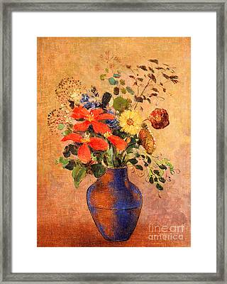 The Blue Vase Framed Print by Odilon Redon