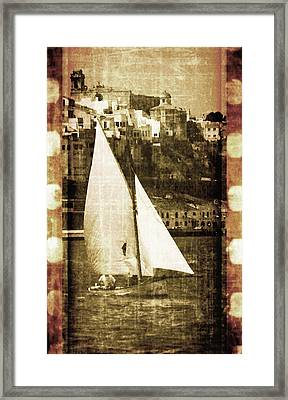 Port Mahon And Traditional Boat Called Llaut In A Vintage Process - The Boat And The City Framed Print by Pedro Cardona