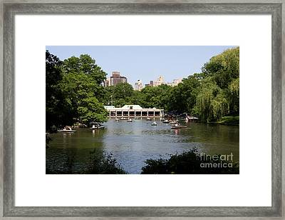 The Boathouse - Central Park Nyc Framed Print by Christiane Schulze Art And Photography