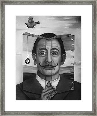 The Book Of Surrealism Bw Framed Print by Leah Saulnier The Painting Maniac