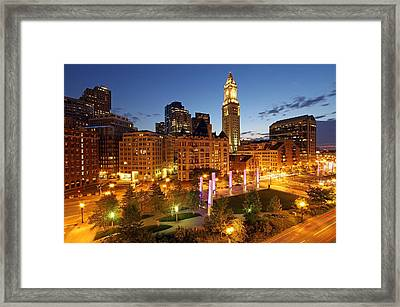 The Boston Rose F. Kennedy Greenway With Light Blades  Framed Print by Juergen Roth