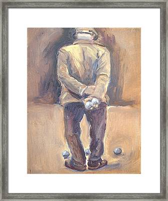 The Boule Player Framed Print by Linda  Wissler