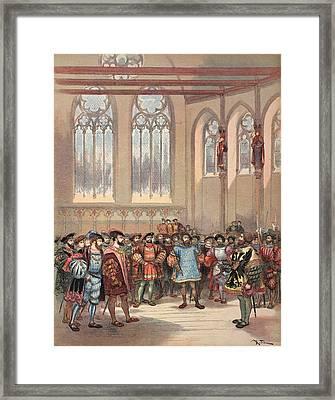 The Bourgogne Herald, Sent By Charles Framed Print by Albert Robida