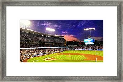 The Boys Of Summer At Dodger Stadium Framed Print by Ron Regalado
